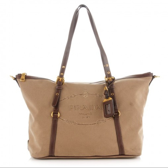 b3fa284ff72a Prada Women s Jacquard Logo Shopping Tote